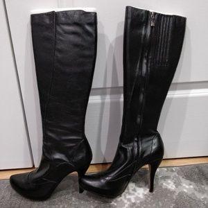 Maxstudio Black Knee Boots 8.5 Almond Heel Nero